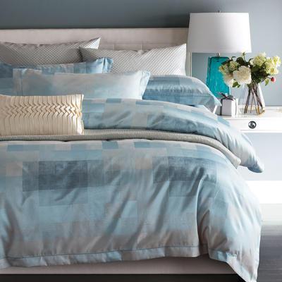时尚提花系列四件套 标准(1.5m-1.8m床) 简约风尚-水蓝灰