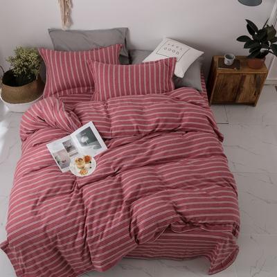 2018新款双面棉绒四件套 1.5m(5英尺)床 嘉欣-豆沙红