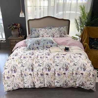 2019新款60S数码印花•长绒棉四件套 1.5m(5英尺)床 锦画-白