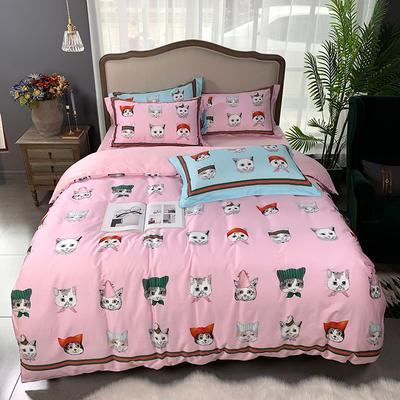 2019新款60S数码印花•长绒棉四件套 1.5m(5英尺)床 酷奇的猫-粉