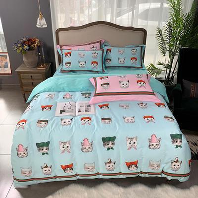 2019新款60S数码印花•长绒棉四件套 1.5m(5英尺)床 酷奇的猫-兰
