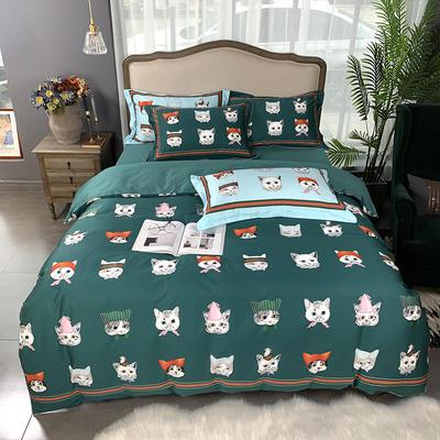 2019新款60S数码印花•长绒棉四件套 1.5m(5英尺)床 酷奇的猫-绿