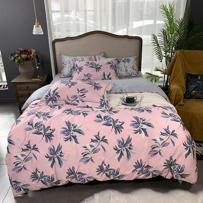 2019新款60S数码印花•长绒棉四件套 1.5m(5英尺)床 玲珑-粉