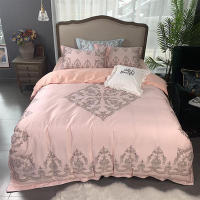 2019新款60S数码印花•长绒棉四件套 1.5m(5英尺)床 颜如玉-粉