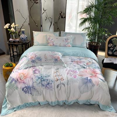 2019新款60天丝印花--东方美学四件套 1.5m(5英尺)床 花束