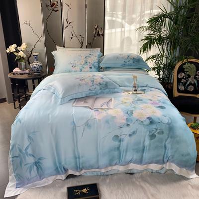 2019新款60天丝印花--东方美学四件套 1.5m(5英尺)床 蔓芷-蓝
