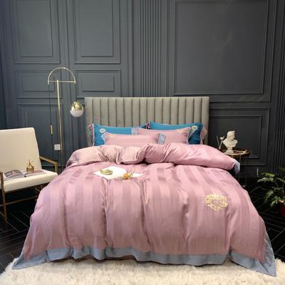 2019新款60天丝缎条绣花四件套 1.5m(5英尺)床 紫
