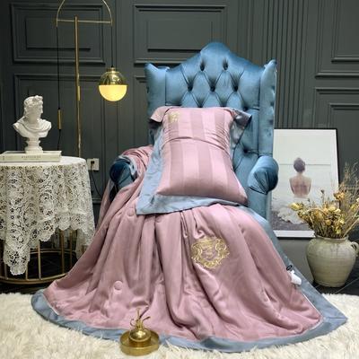 2019新款60天丝缎条绣花夏被 200X230cm 紫
