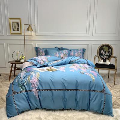 2019新款60长绒棉数码新中式四件套 1.5m床四件套(床单款) 贝纳庭院-蓝