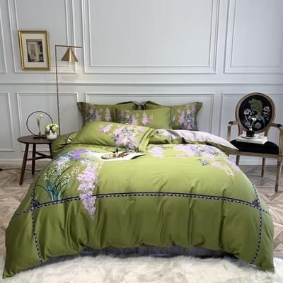 2019新款60长绒棉数码新中式四件套 1.5m床四件套(床单款) 贝纳庭院-绿