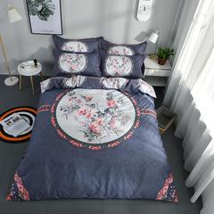 柏然家纺    全棉活性大版四件套(第二批) 标准1.5-1.8m床单款 胭脂恋-蓝