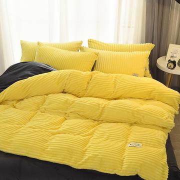 2018新品拼色魔法绒宝宝绒法莱绒四件套 1.2m(4英尺)床三件套 嫩黄