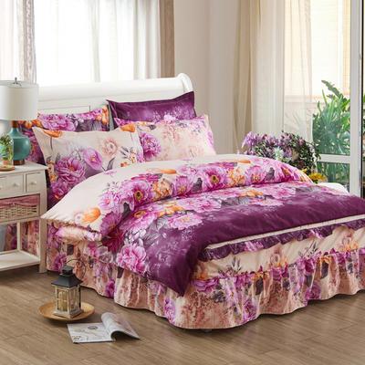 韩版加厚-床裙四件套 1.5m(5英尺)床 芬芳旅程紫