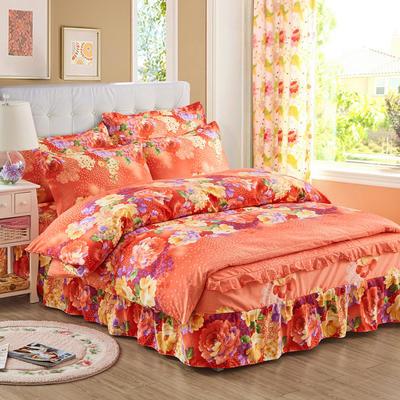 韩版加厚-床裙四件套 1.5m(5英尺)床 花的世界桔