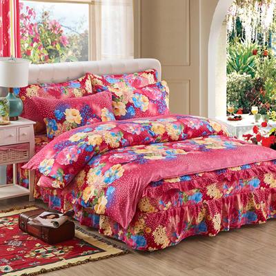 韩版加厚-床裙四件套 1.5m(5英尺)床 花的世界玫红