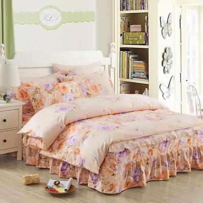 韩版加厚-床裙四件套 1.5m(5英尺)床 花色怡人桔