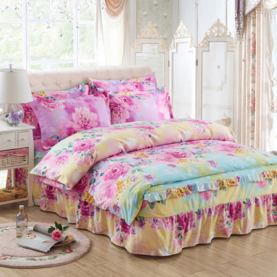 韩版加厚-床裙四件套 1.5m(5英尺)床 美丽佳人