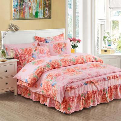 韩版加厚-床裙四件套 1.5m(5英尺)床 牡丹情怀