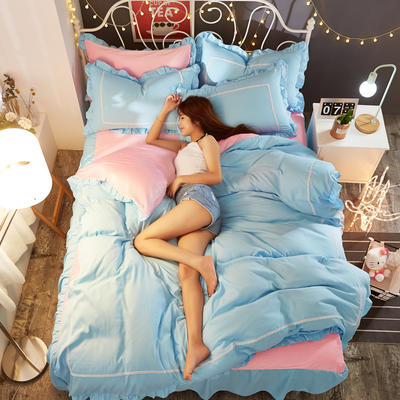 水晶绒床裙四件套 1.5m(5英尺)床 栀夏