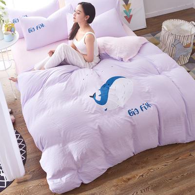 水洗棉印花四件套 2.0m(6.6英尺)床 大鱼-浅紫