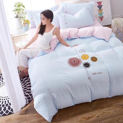 水洗棉印花四件套 2.0m(6.6英尺)床 纽扣-浅蓝