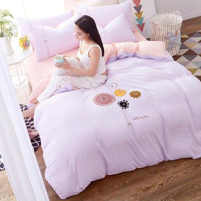 水洗棉印花四件套 2.0m(6.6英尺)床 纽扣-浅紫
