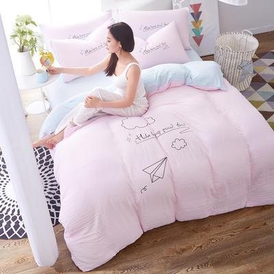 水洗棉印花四件套 2.0m(6.6英尺)床 闲趣-浅粉