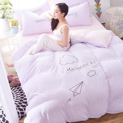 水洗棉印花四件套 2.0m(6.6英尺)床 闲趣-浅紫