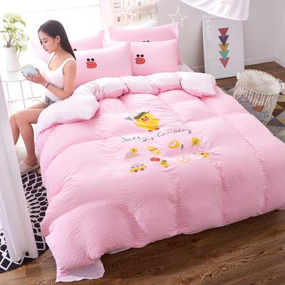 水洗棉印花四件套 2.0m(6.6英尺)床 小黄鸭-粉