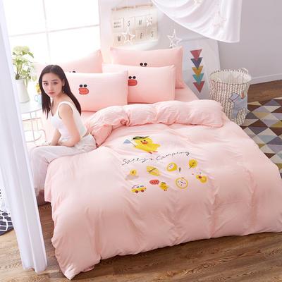 水洗棉印花四件套 2.0m(6.6英尺)床 小黄鸭-玉