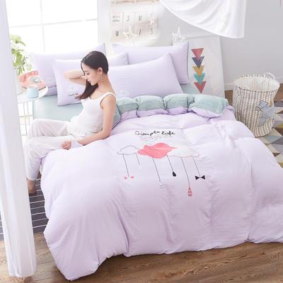 水洗棉印花四件套 2.0m(6.6英尺)床 雨滴-浅紫