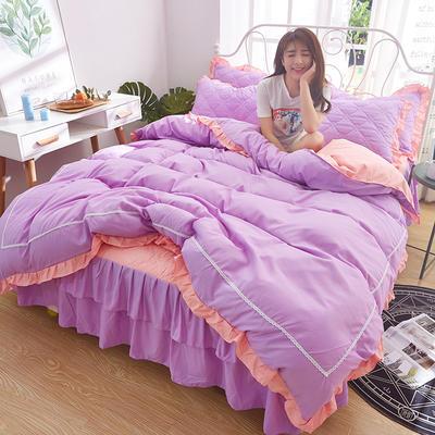2018新款 韩版双层夹棉床裙四件套 1.5m床 香晴