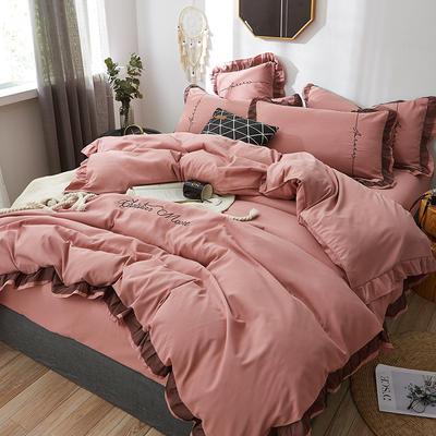 2019新款蕾丝刺绣四件套 1.5m(5英尺)床 豆沙