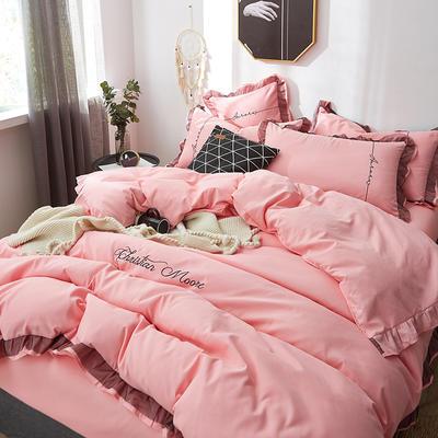 2019新款蕾丝刺绣四件套 1.5m(5英尺)床 裸粉