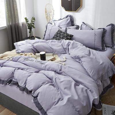2019新款蕾丝刺绣四件套 1.5m(5英尺)床 浅紫