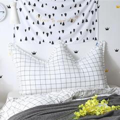 全棉床头靠垫色织水洗韩版带花边皇冠床头靠背多尺寸 长*高 0.9*0.65米 白格