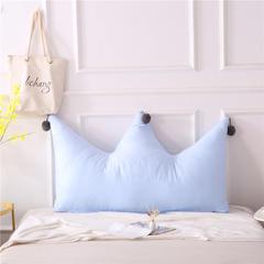 全棉色织皇冠床头靠垫 榻榻米软包 大毛球靠背多尺寸可拆洗 长1.2*高0.8米 浅蓝