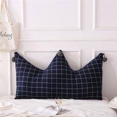 全棉色织皇冠床头靠垫 榻榻米软包 大毛球靠背多尺寸可拆洗 长0.9*高0.65米 宝蓝格