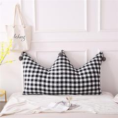 全棉色织皇冠床头靠垫 榻榻米软包 大毛球靠背多尺寸可拆洗 长1.2*高0.8米 黑白格