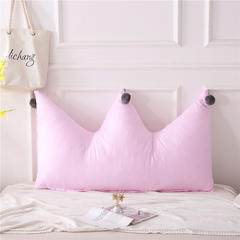 全棉色织皇冠床头靠垫 榻榻米软包 大毛球靠背多尺寸可拆洗 长1.2*高0.8米 粉红