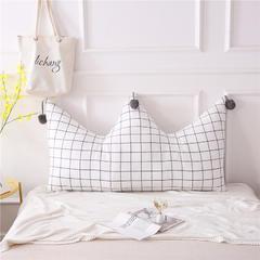 全棉色织皇冠床头靠垫 榻榻米软包 大毛球靠背多尺寸可拆洗 长1.8*高0.8米 白格