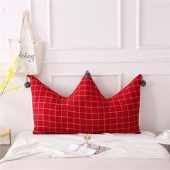 全棉色织皇冠床头靠垫 榻榻米软包 大毛球靠背多尺寸可拆洗 长1.5*高0.8米 红格