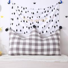全棉色织皇冠床头靠垫 榻榻米软包 大毛球靠背多尺寸可拆洗 长1.8*高0.8米 灰白格