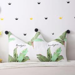 全棉色织皇冠床头靠垫 榻榻米软包 大毛球靠背多尺寸可拆洗 长0.9*高0.65米 芭蕉叶
