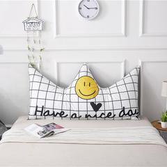 专版全棉宝宝绒双拼皇冠床头靠垫 宿舍床榻榻米软包靠背卡通靠垫 长1.8*高0.8米 笑脸