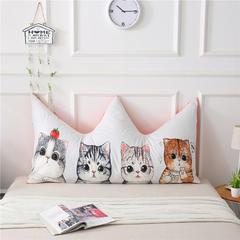 专版全棉宝宝绒双拼皇冠床头靠垫 宿舍床榻榻米软包靠背卡通靠垫 长1.5*高0.8米 可爱猫咪