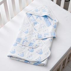 婴童抱被6层纱布抱被 皇冠-蓝