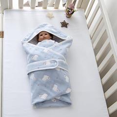 婴童抱被6层纱布抱被 小羊-蓝