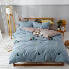 亿知莱13372全棉四件套(北欧简约抽象类) 加大2.0m床单款 幸福里-绿