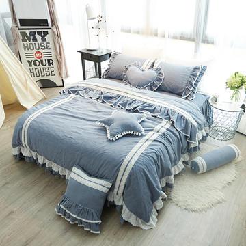 韩式水洗棉四件套(蓝灰情调)床裙款 1.2m(4英尺)床 蓝灰